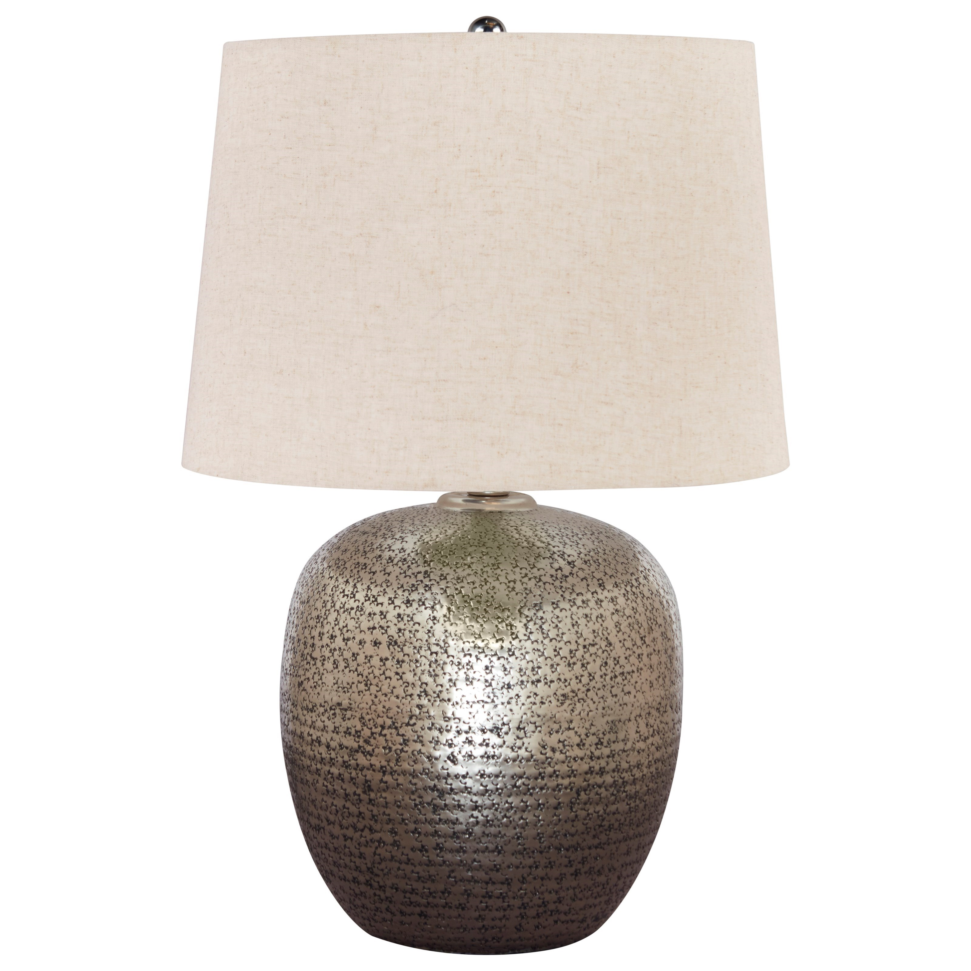 Lamps - Contemporary Magalie Antique Silver Metal Table Lamp by Signature at Walker's Furniture