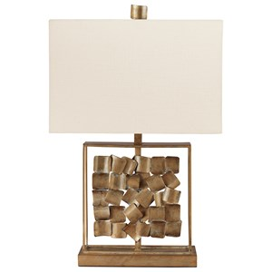Evera Antique Gold Finish Metal Table Lamp
