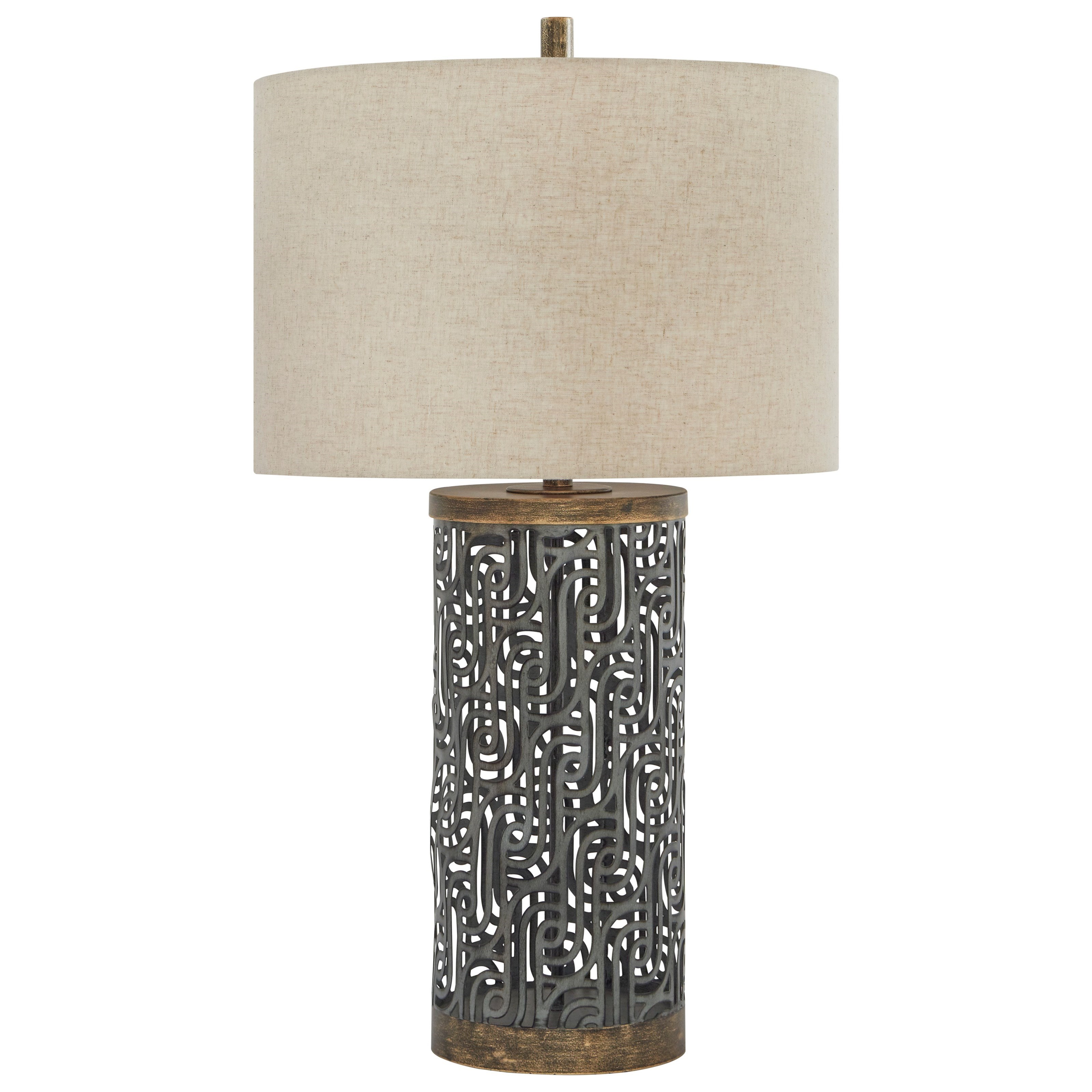 Lamps - Contemporary Dayo Gray/Gold Metal Table Lamp by Signature at Walker's Furniture