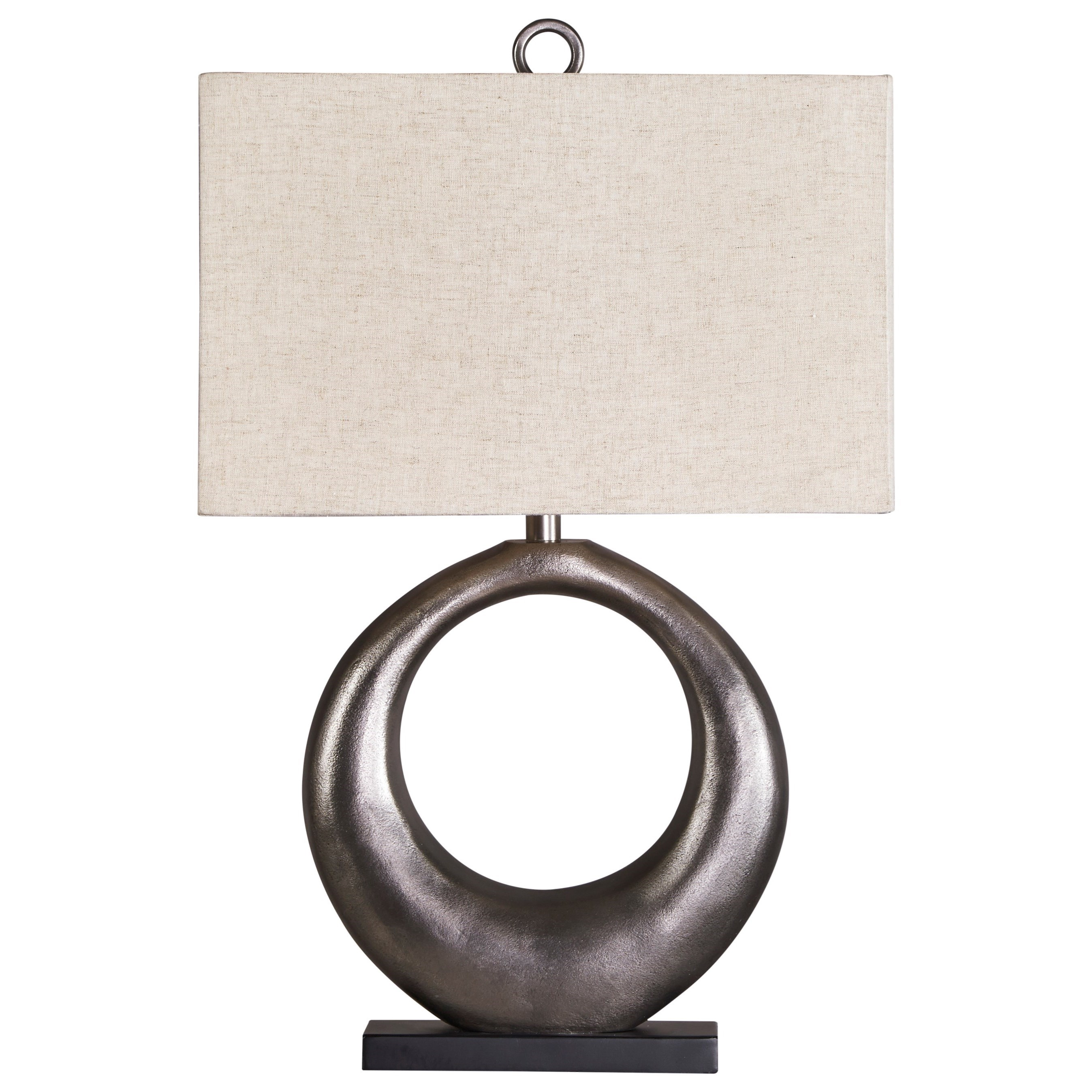 Lamps - Contemporary Saria Antique Silver Finish Metal Table Lamp by Ashley (Signature Design) at Johnny Janosik
