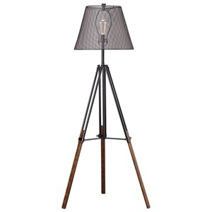 Leolyn Black/Brown Metal Floor Lamp