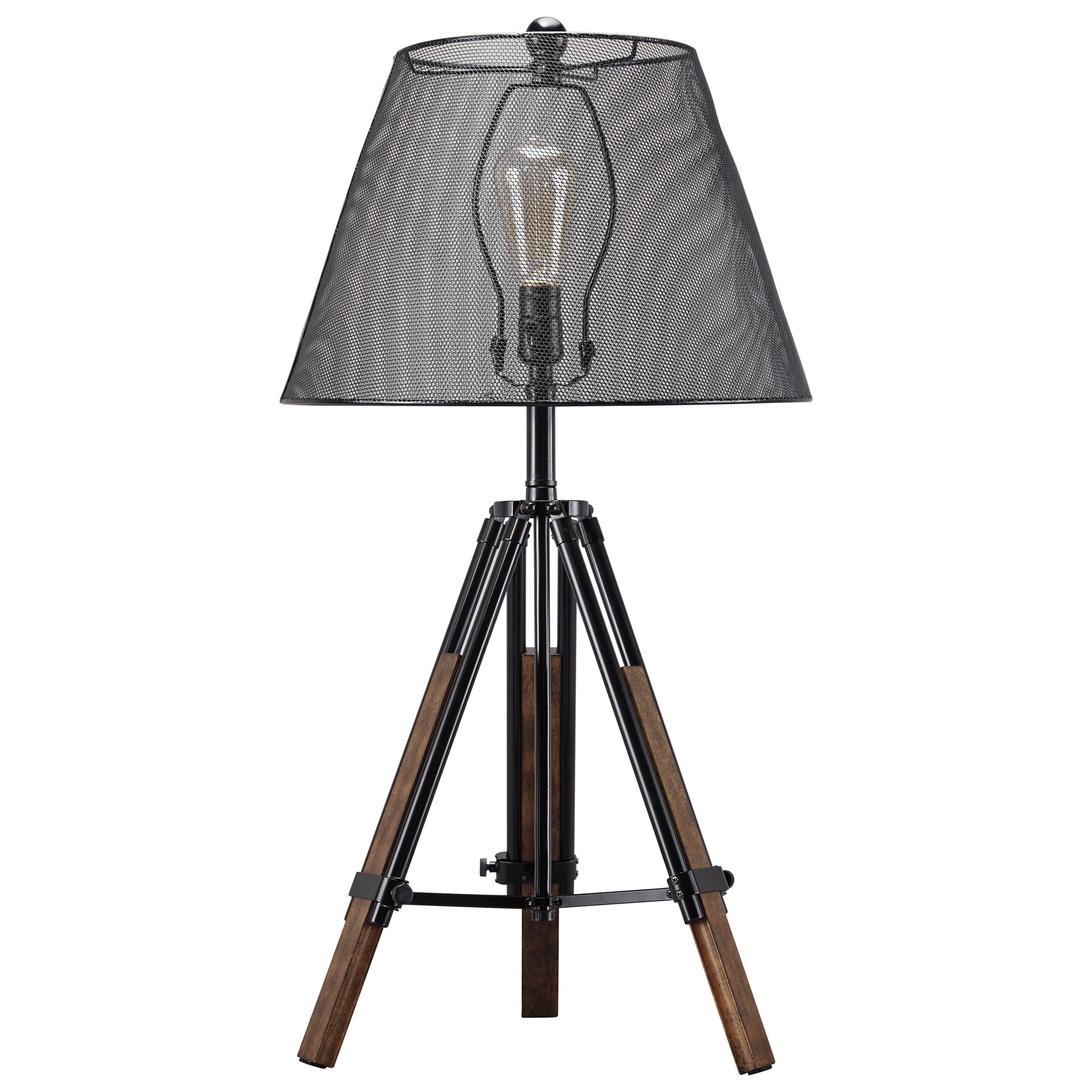 Lamps - Contemporary Leolyn Black/Brown Metal Table Lamp by Signature at Walker's Furniture