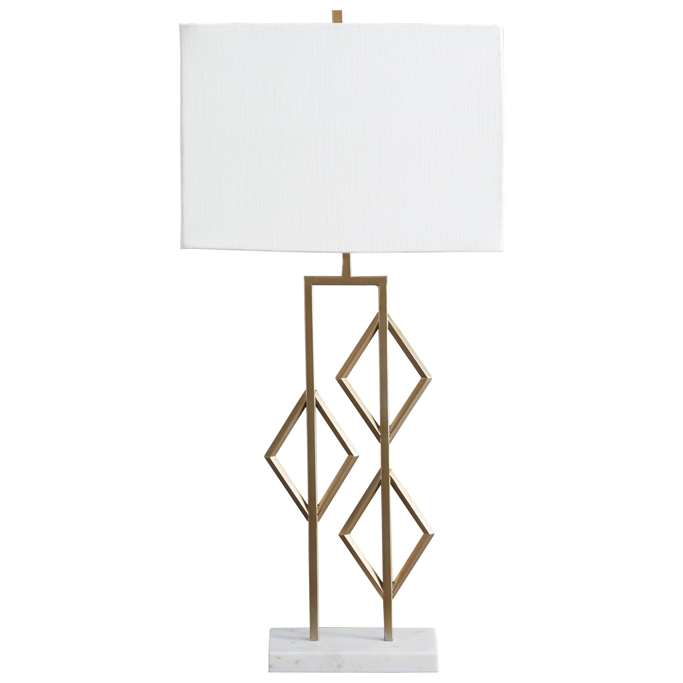 Lamps - Contemporary Edsel Champagne Metal Table Lamp by Ashley (Signature Design) at Johnny Janosik
