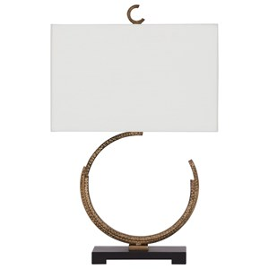 Jaslene Antique Gold Finish Metal Table Lamp