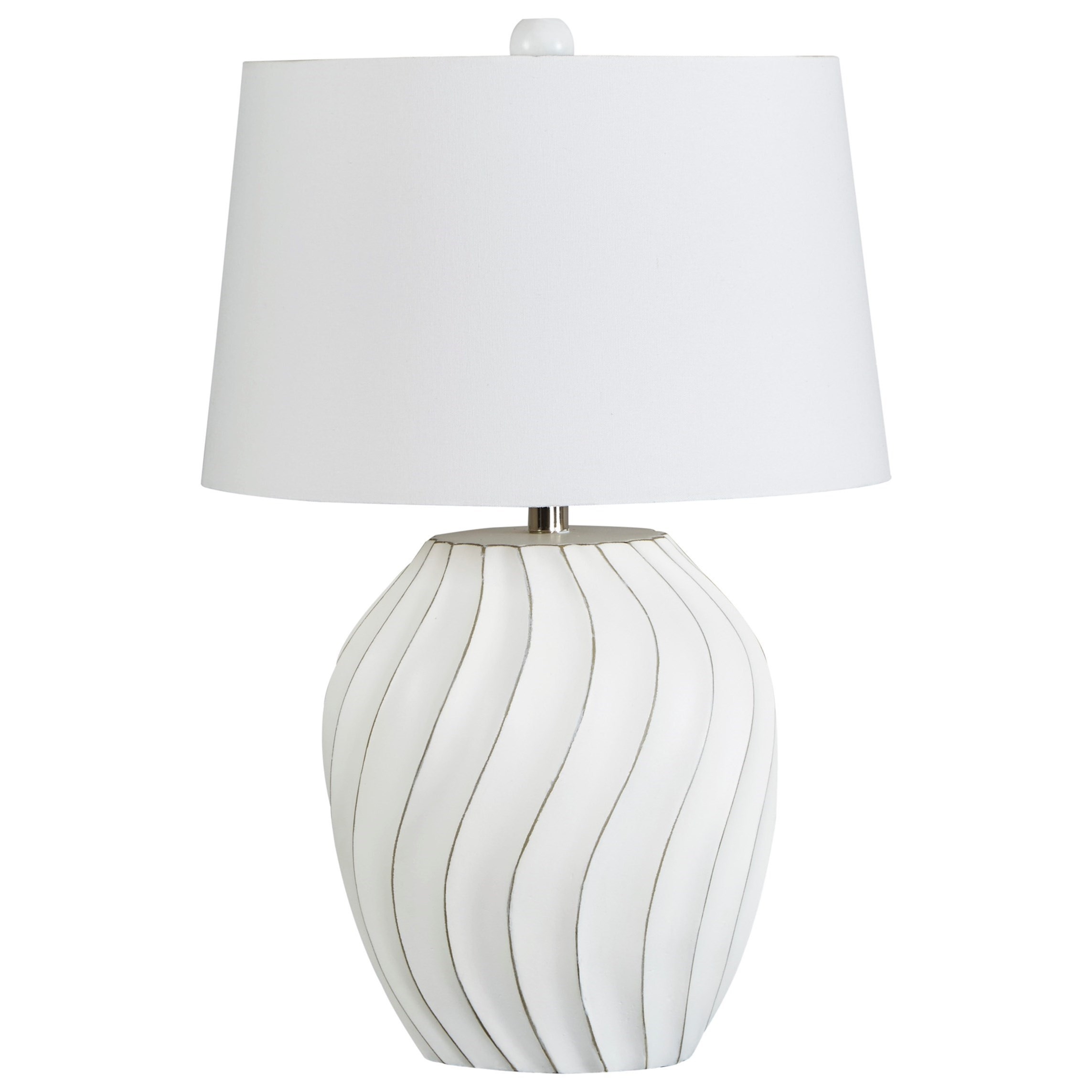 Lamps - Contemporary Hidago White Paper Table Lamp by Signature at Walker's Furniture
