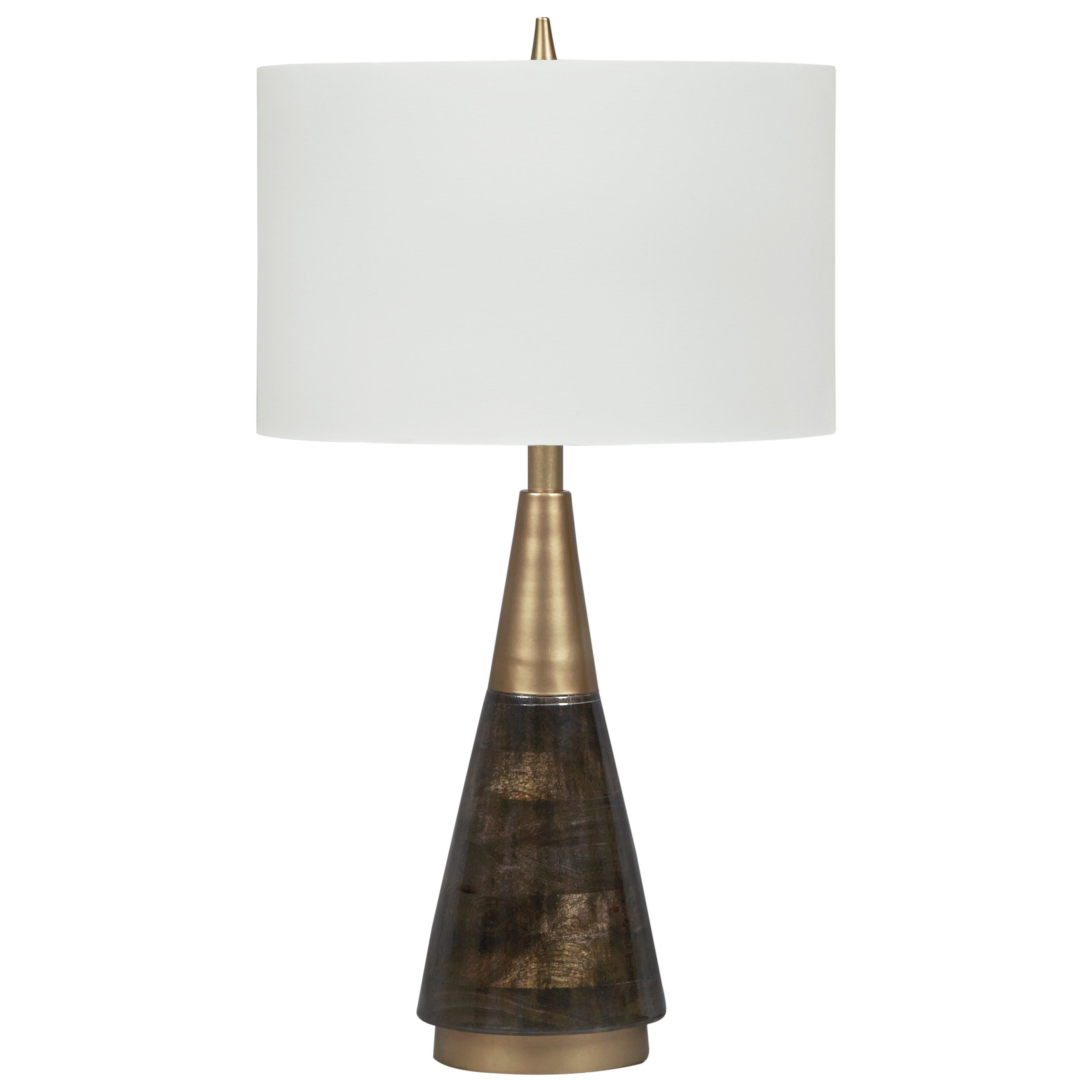 Lamps - Contemporary Lyrah Black/Gold Finish Wood Table Lamp by Signature at Walker's Furniture