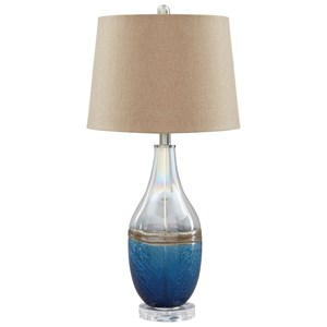 Set of 2 Johanna Blue/Clear Glass Table Lamps