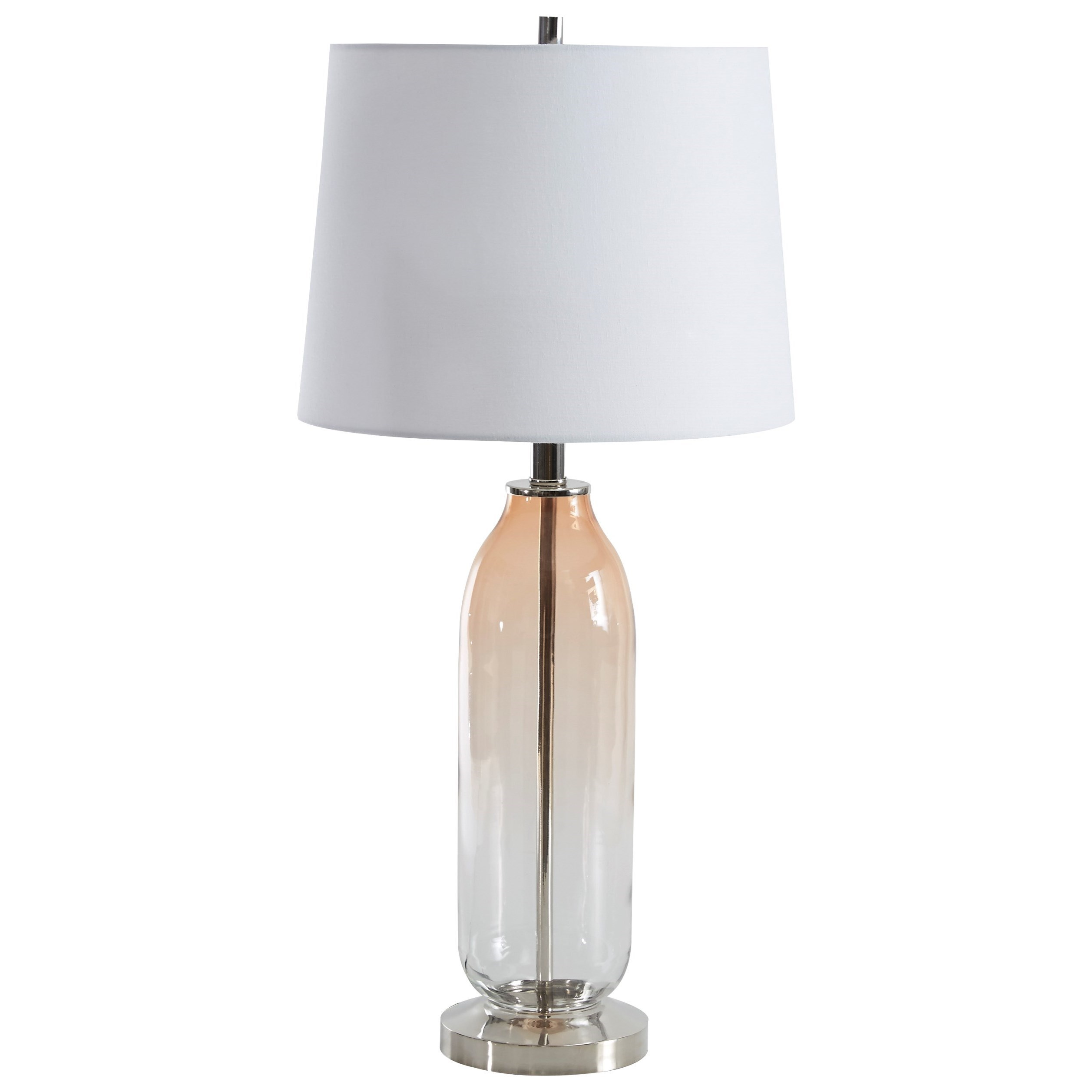 Lamps - Contemporary Sheyla Clear/Pink Glass Table Lamp by Signature at Walker's Furniture