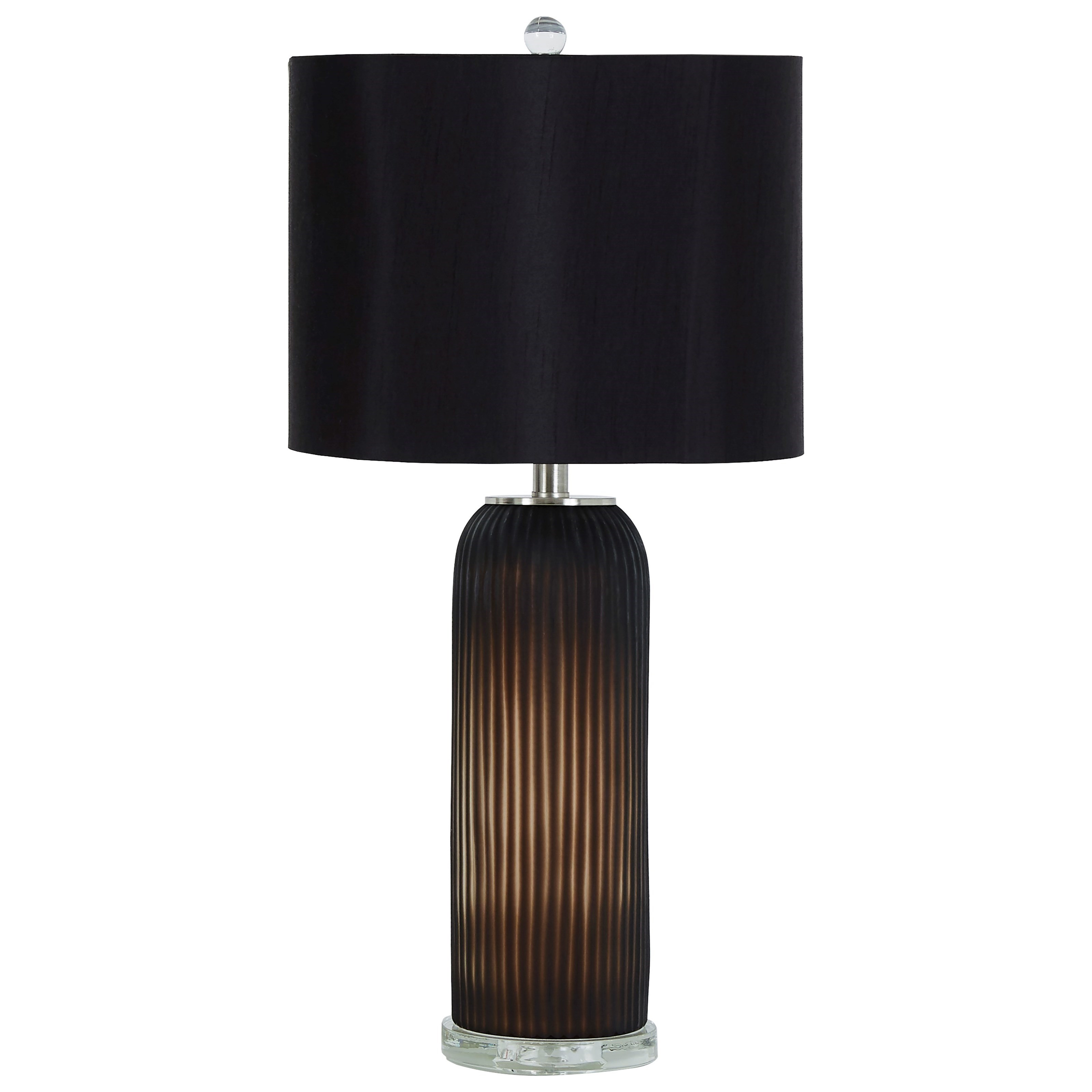 Set of 2 Abaness Black Glass Table Lamps