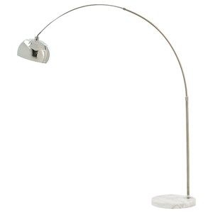 Osasco Silver Finish Metal Arc Lamp with Marble Base