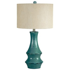 Signature Design by Ashley Lamps - Vintage Style Jenci Antique Teal Ceramic Table Lamp