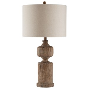Madelief Brown Faux Wood Table Lamp