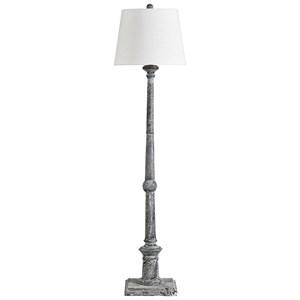 Zimba Antique Gray Wood Floor Lamp