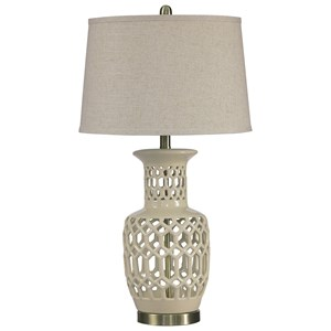 Signature Design by Ashley Lamps - Traditional Classics Jayme Cream Ceramic Table Lamp