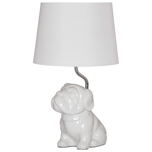 Signature Design by Ashley Lamps - Youth Avel White Ceramic Pug Table Lamp