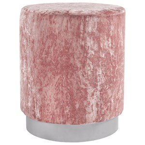 Blush Pink Crushed Velvet Round Accent Ottoman with Silvertone Base