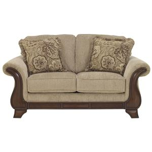 Loveseat with Exposed Wood Accents