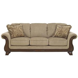 Queen Sofa Sleeper with with Memory Foam Mattress, Flared Arms & Exposed Wood Accents