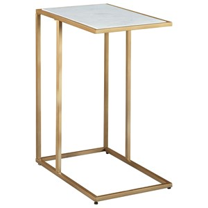 C-Shape Accent Table with White Marble Top