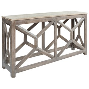 Solid Wood Gray Console Sofa Table with Whitewash Table Top