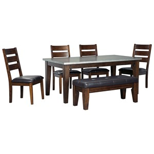 Signature Design by Ashley Larchmont 6-Piece Rectangular Table Set with Bench