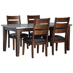 5-Piece Rectangular Dining Table Set with Metal Look Table Top
