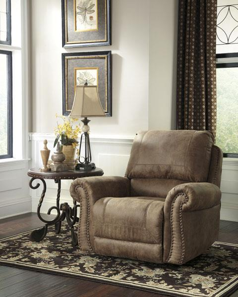 Roll Arm Rocker Recliner w/ Nailhead Trim