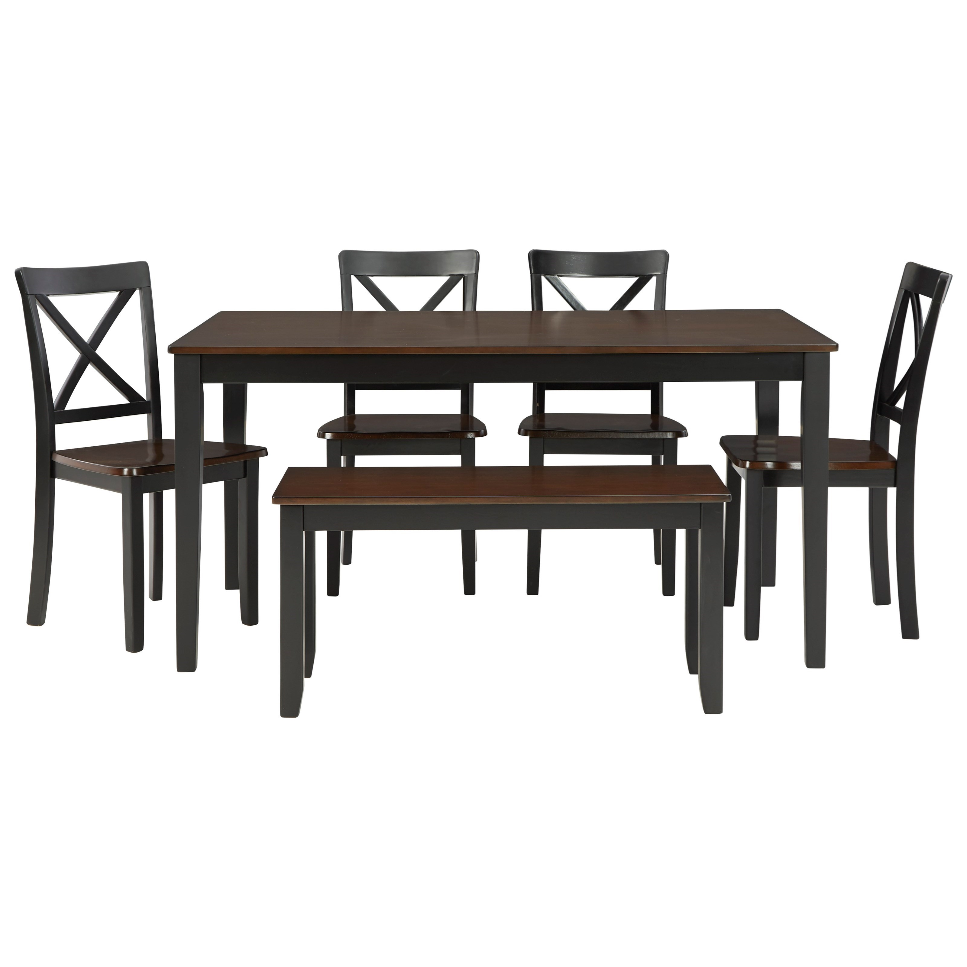 Larsondale 6-Piece Dining Table Set with Bench by Signature Design by Ashley at Northeast Factory Direct
