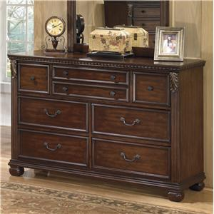 Traditional 7-Drawer Dresser with  Fluted Pilasters