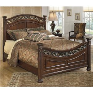 Traditional California King Panel Bed with Decorative Headboard and Footboard