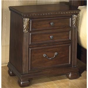 2-Drawer Night Stand with  Fluted Pilasters
