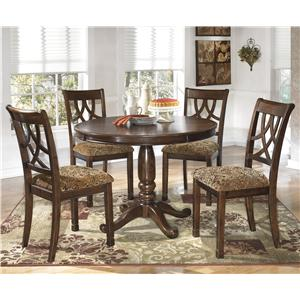 5-Piece Cherry Finish Round Dining Table Set