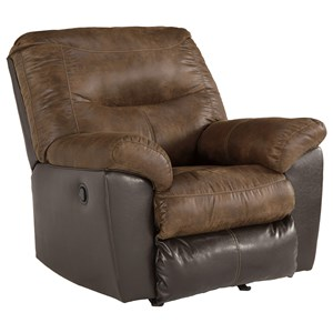 Casual Two-Tone Rocker Recliner