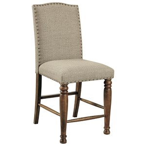 Counter Height Upholstered Barstool with Nailhead Trim