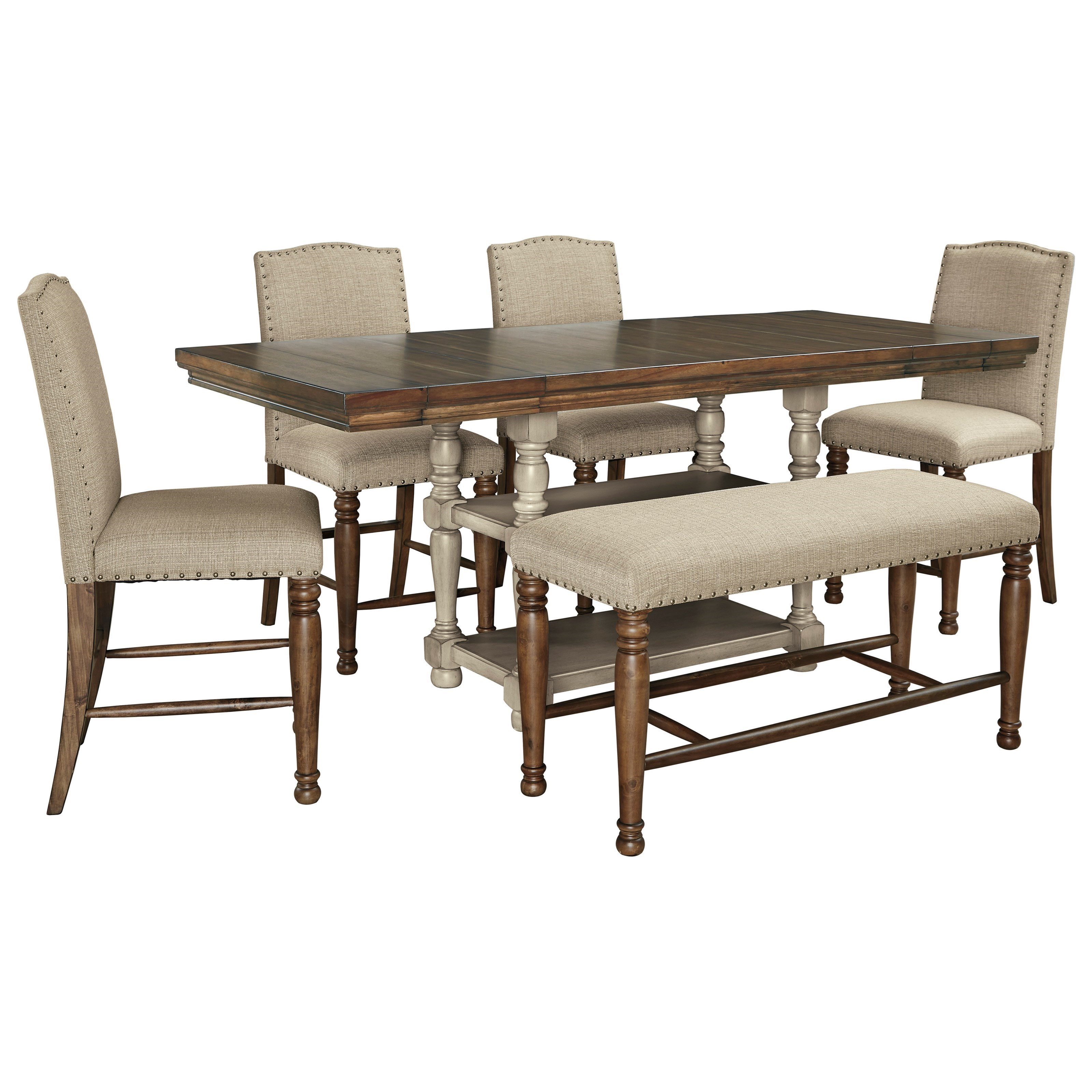 Lettner 6-Piece Counter Table Set with Bench by Signature Design by Ashley at Beck's Furniture
