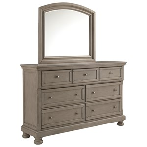 Casual Seven Drawer Dresser and Mirror Set