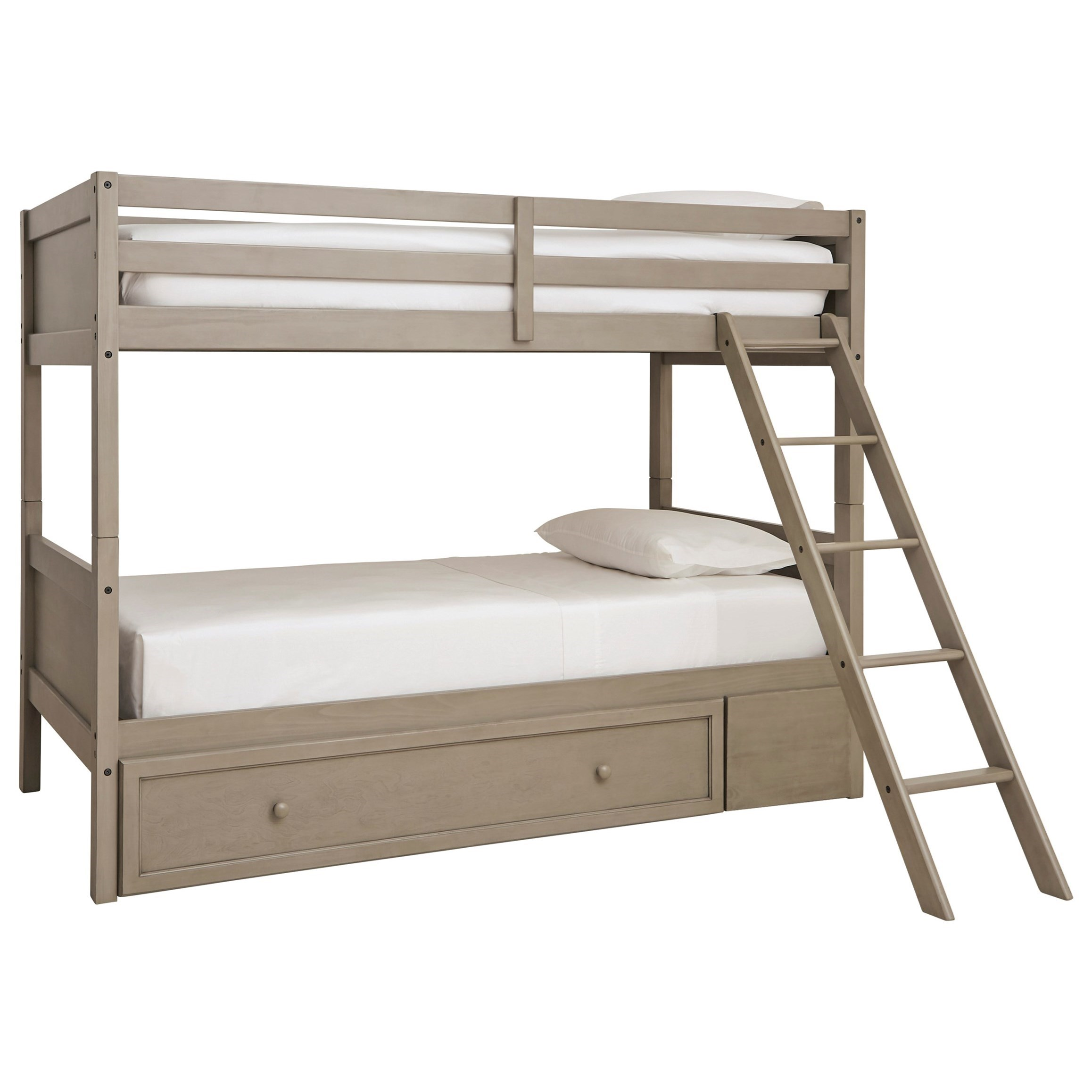 Lettner Twin/Twin Bunk Bed w/ Ladder & Storage by Signature Design by Ashley at Beck's Furniture