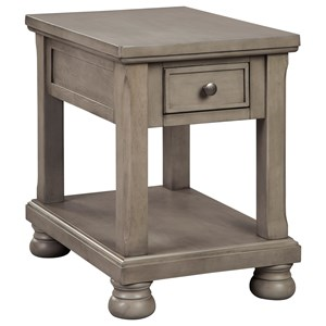 Casual Gray Rectangular End Table with 1 Drawer