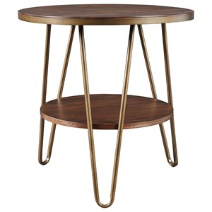 Contemporary Round End Table with Hairpin Legs