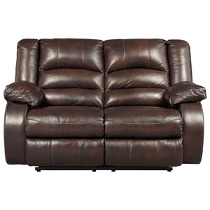Leather Match Reclining Loveseat