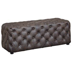 Brown Faux Leather Rectangular Tufted Accent Ottoman