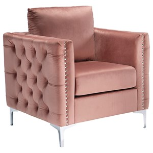 Glam Blush Pink Velvet Accent Chair with Tufted Sides