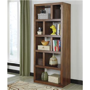 Contemporary Open Bookcase with Asymmetrical Shelves