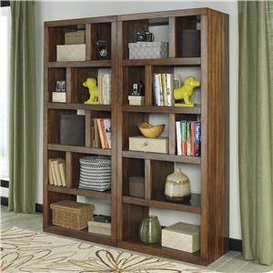 2-Piece Contemporary Bookcase Set with Open, Asymmetrical Shelves