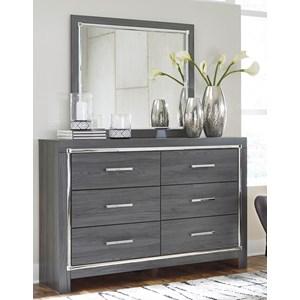 Glam 6 Drawer Dresser and Mirror Set