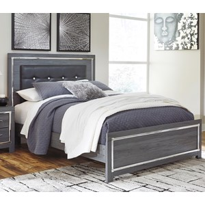 Glam King Upholstered Bed with Color Changing LED Lighting