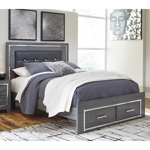 King Upholstered Bed with Color Changing LED Lighting and Footboard Storage