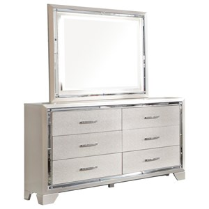 Glam Six Drawer Dresser and Mirror Set