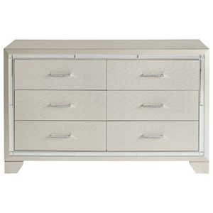 Glam Six Drawer Dresser with Mirror Accents
