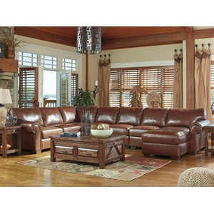 Signature Design by Ashley Lugoro 5-Piece Sectional with Right Chaise